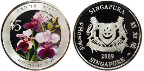 5 долларов 2009 год. Сингапур. Орхидея Vanda Amy. Серебро PROOF с цветной печатью