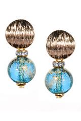 Серьги тренд металлические вставки цвет голубой с золотым