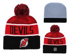 Шапка вязаная с помпоном и с логотипом НХЛ Нью-Джерси Девилз (NHL New Jersey Devils)