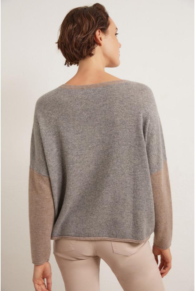 Двухцветный кашемировый свитер