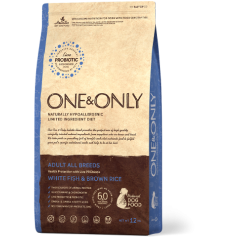 One&Only White fish & Brown Rice Adult All Breeds - 12 кг