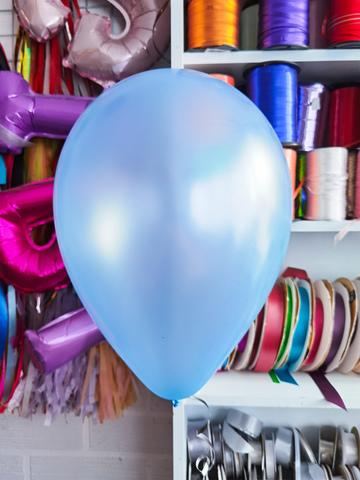 №9 Голубой Гелиевый шар металл 30см с обработкой