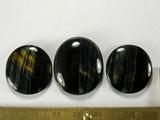 Комплект кабошонов соколиного глаза 23x24x4 мм - 2 шт., 28x24x6 мм - 1 шт.