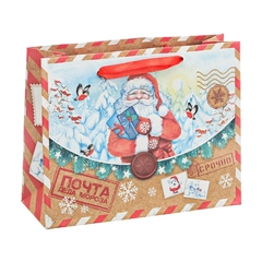Пакет крафтовый горизонтальный «Почта от Деда Мороза», 27 × 23 × 8 см