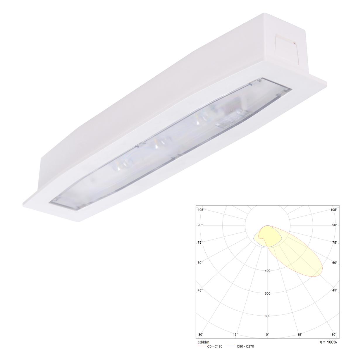 Встраиваемый светодиодный ассиметричный аварийный светильник с аккумулятором Suprema LED SСA PT IP54 Intelight