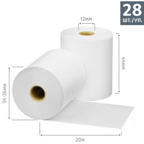 Чековая лента из термобумаги Promega jet 44 мм (диаметр 34-36 мм, намотка 20 м, втулка 12 мм, 28 штук в упаковке)