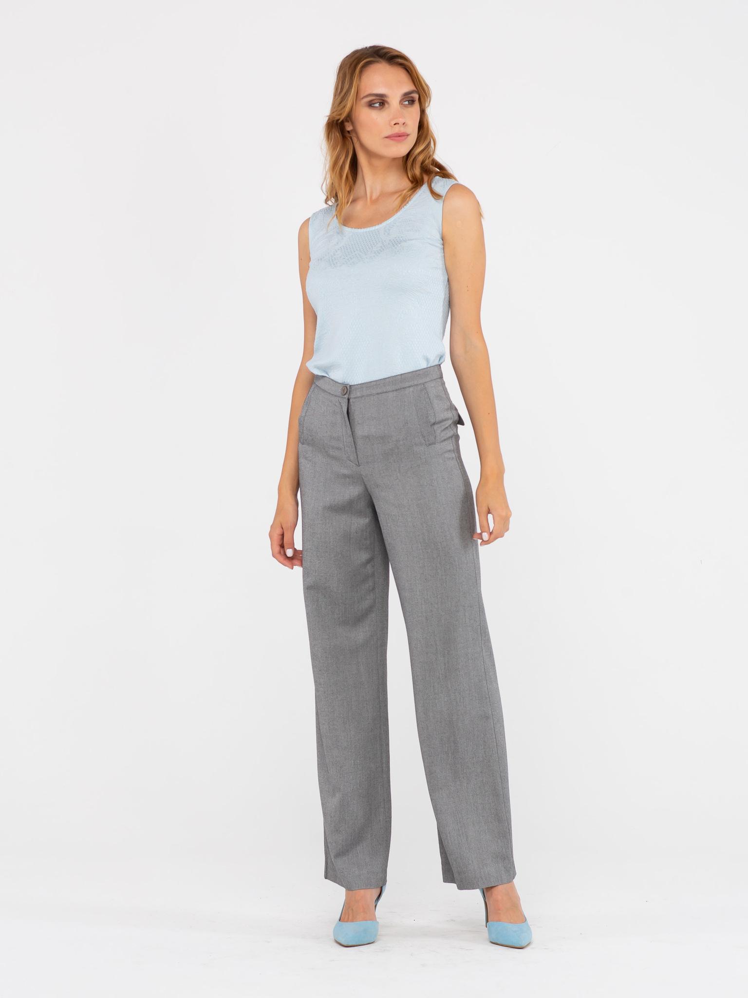 Брюки А438-342 - Стильные широкие брюки-палаццо из струящейся ткани. Эта модель прекрасно подойдет как для повседневной жизни, так и для праздничного образа или работы в офисе.