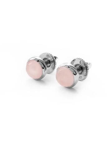 Серебряные серьги-пусеты мини с розовым кварцем