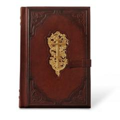 Библия большая в кожаном переплете с ляссе для закладок