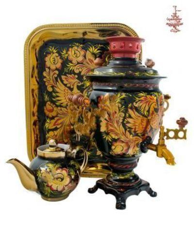 Самовар расписной «Песни востока» электрический формой желудь 3л в наборе с подносом и чайником