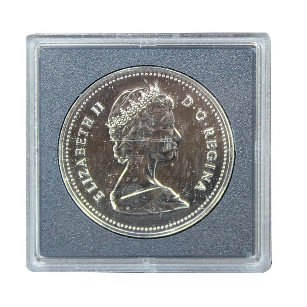 1 доллар 1981 год 100 лет Трансконтинентальной железной дороге (Серебро, в оригинальной квадрокапсуле), Канада. UNC