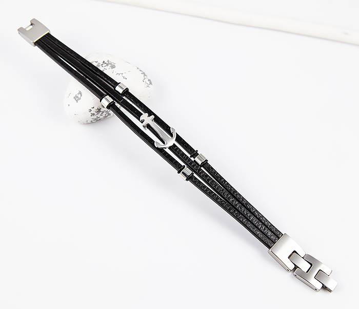SLQ-1018S-08 Мужской браслет из кожи со стальным якорем, «Spikes» фото 02