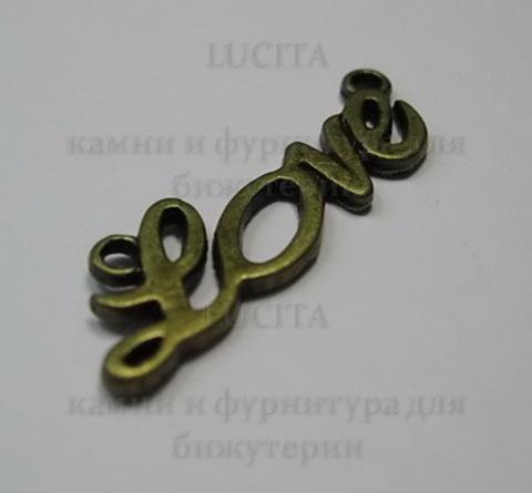 """Коннектор """"Love"""" (1-1) 33х10 мм (цвет - античная бронза) ()"""