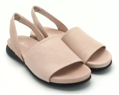 Розовые кожаные сандалии на плоской подошве