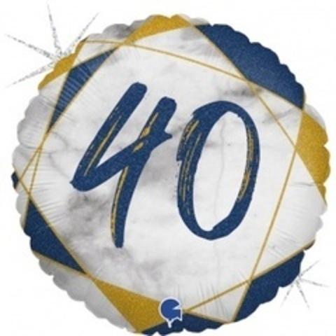Г Круг 40 Цифра, Мрамор Синий, Голография, 18