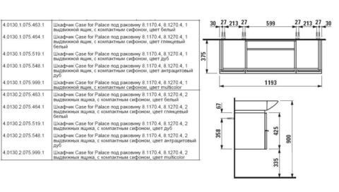 Мебель для ванной комнаты Laufen Case for Palace 120 см 4.0130.2.075.463.1  схема