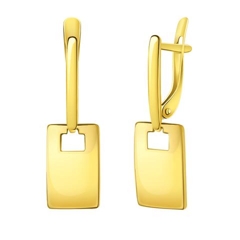 л20809 - Серьги из лимонного золота с квадратными подвесками
