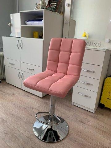 Барный стул Kruger Light Pink (стул стилиста, визажиста, бровиста)