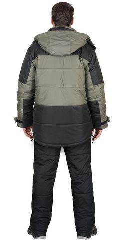 Костюм оливковый с черным куртка, брюки