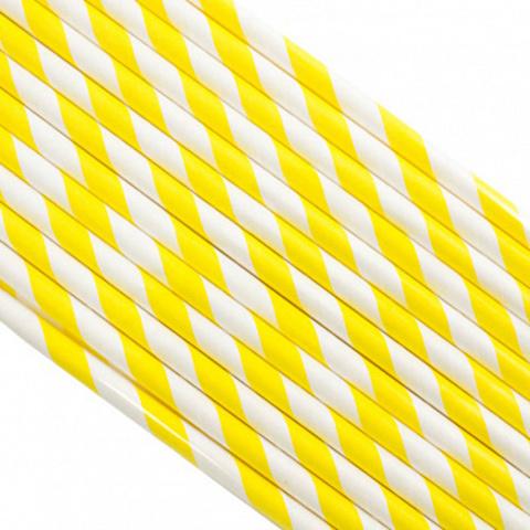 Трубочки бумажные Желтые, 200*6мм, 25шт