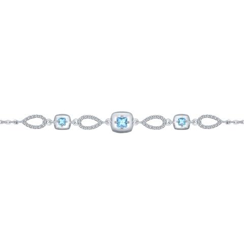 92050100- Браслет из серебра с голубыми топазами и фианитами