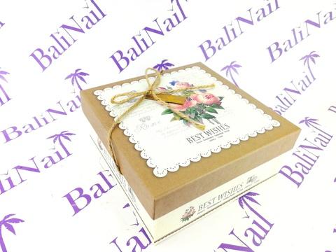 Коробка подарочная квадратная Прованс, 14х14х6см, коричневый/бежевый/
