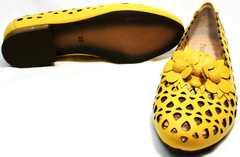Удобные женские туфли босоножки на маленьком каблуке Phany 103-28 Yellow.
