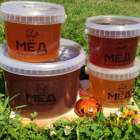 Мёд цветочный с гречихой середина лета 2021 Ивановка 0,9 литра (1,35 кг)