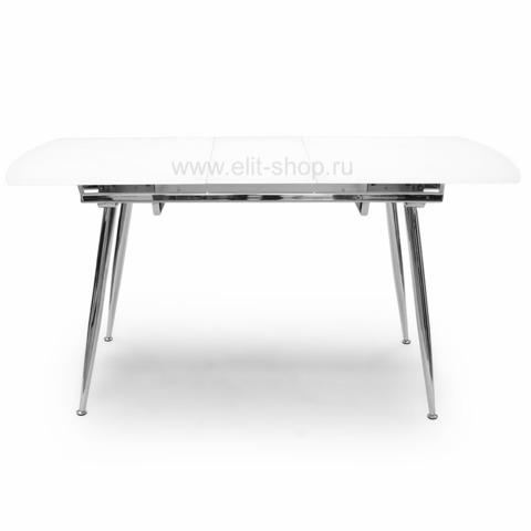 Стол T600К SUPER WHITE FLOWER Белые цветы / выбеленное матовое стекло / опора хром / 122(152)х74 см