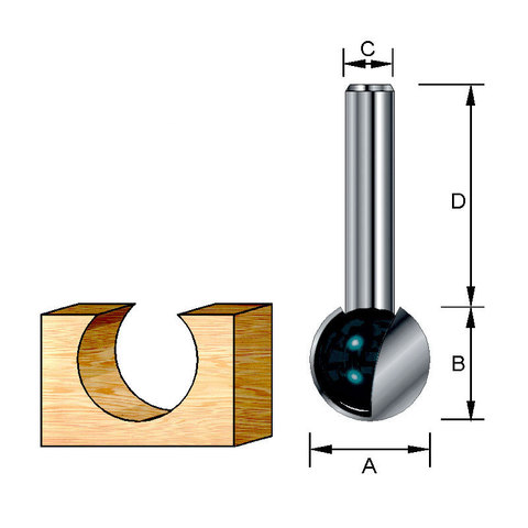 Шаровидная фреза 19,05х32х19,05х8 мм