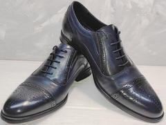 Синии туфли оксфорды мужские Ikoc 3805-4 Ash Blue Leather.