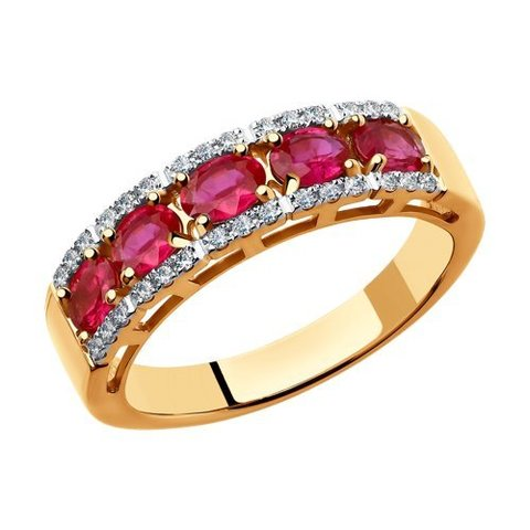 4010605 - Кольцо из золота с бриллиантами и рубинами
