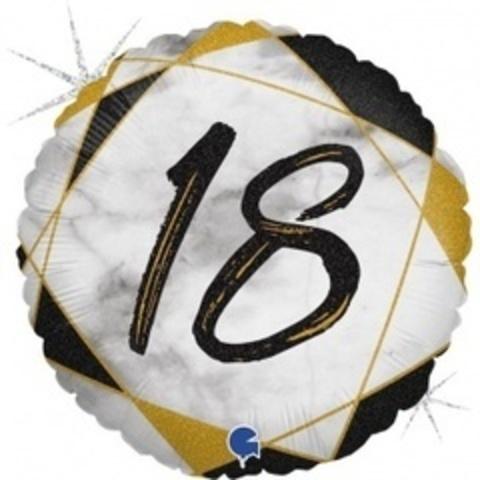 Г Круг 18 Цифра, Мрамор Черный, Голография, 18
