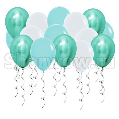 Воздушные шары с гелием под потолок Белый, бирюзовый хром, бирюзовый