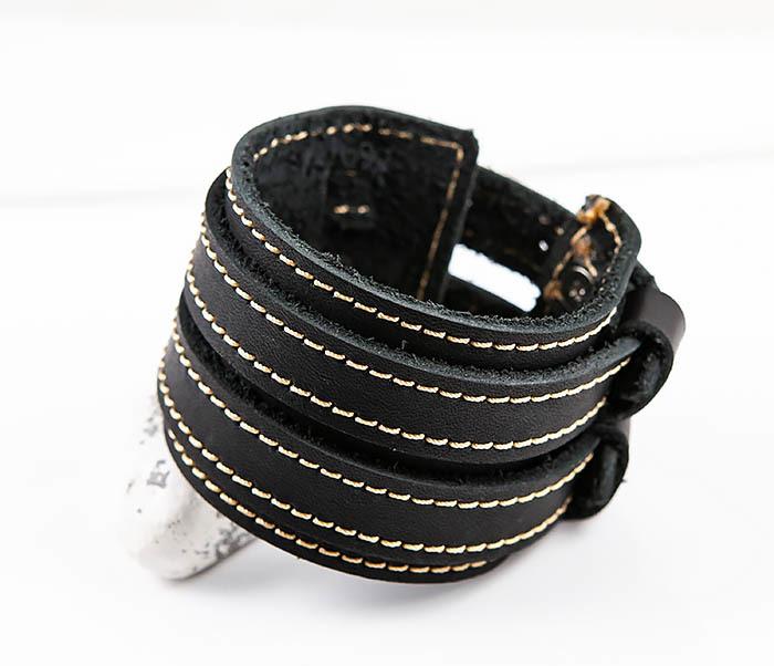 BL391-3 Широкий черный браслет ручной работы из натуральной кожи. «Boroda Design» фото 06