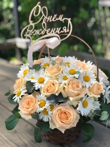 Цветы в корзинке с топпером #1824