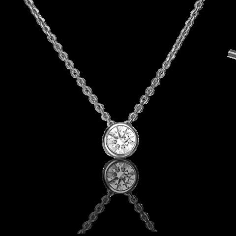 07-0086-00-501-1120-38-Колье из белого золота с подвеской с кристаллом SWAROVSKI