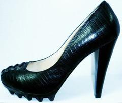 Женские туфли на устойчивом каблуке 10 см. Черные туфли на толстой подошве Welfare.