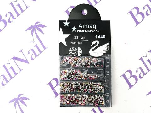 Стразы Aimaq PROFESSIONAL (розовые с зеленым) MIX, 1440 шт с подложкой