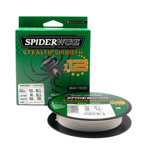Плетеная леска Spiderwire Stealth Smooth 12 Braid Полупрозрачная 0,39 мм., 46,3 кг., 150 м. (1507371)