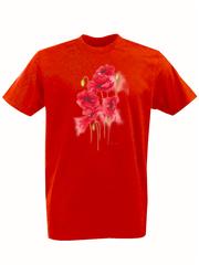 Футболка с принтом Цветы (Маки) красная 002