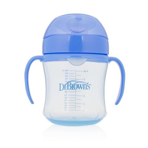 Чашка-непроливайка 180 мл с мягким носиком, ручками и откидывающейся крышкой, 6+ месяцев (синий)