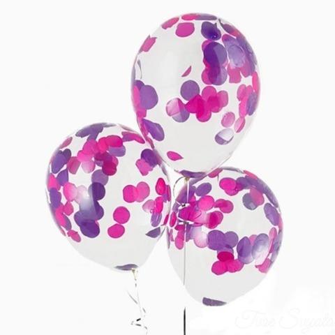Воздушные шары с сиренево-розовым конфетти