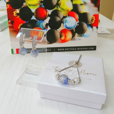 Комплект из браслета и серег со стразами Daniella  Ca'D'oro Medio Sapfir 056OB
