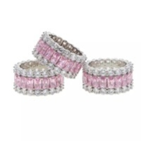 60323 - Широкое кольцо-дорожка из серебра с розовыми цирконами