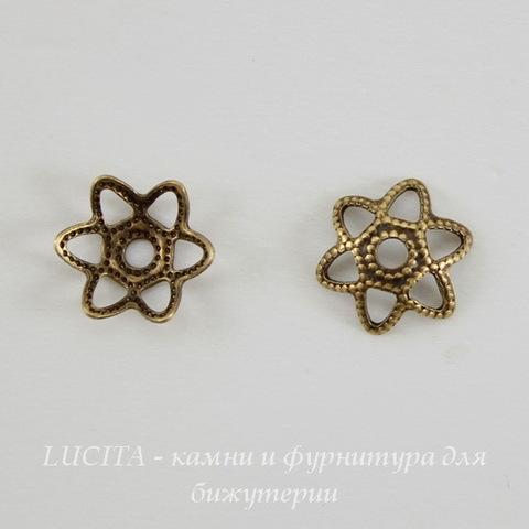 Винтажный декоративный элемент - шапочка маленькая 8х2 мм (оксид латуни) ()