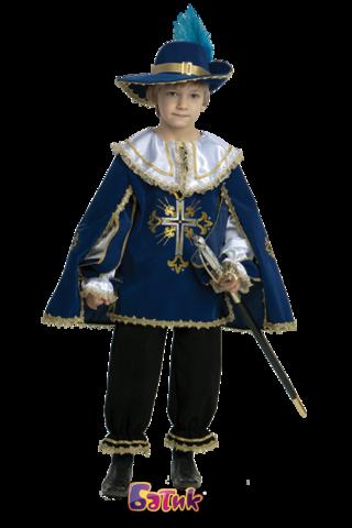 Карнавальный костюм для мальчика Мушкетер синий (бархат)