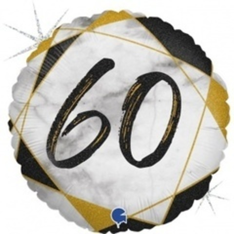Г Круг 60 Цифра, Мрамор Черный, Голография, 18