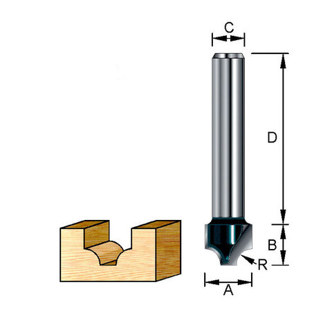 Фреза пазовая фасонная (каплевидная) 19*32*11*8 мм; R=4 мм