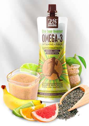 Супер-завтрак ЧИА ОМЕГА-3 «Цитрусовый твист» (Киноа + Овес + Семена Чиа) без сахара